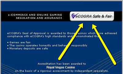 eCogra's Seal of Approval for Royal Vegas Casino.