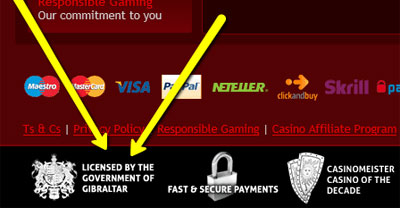A seal of an online casino licensed in Gibraltar.