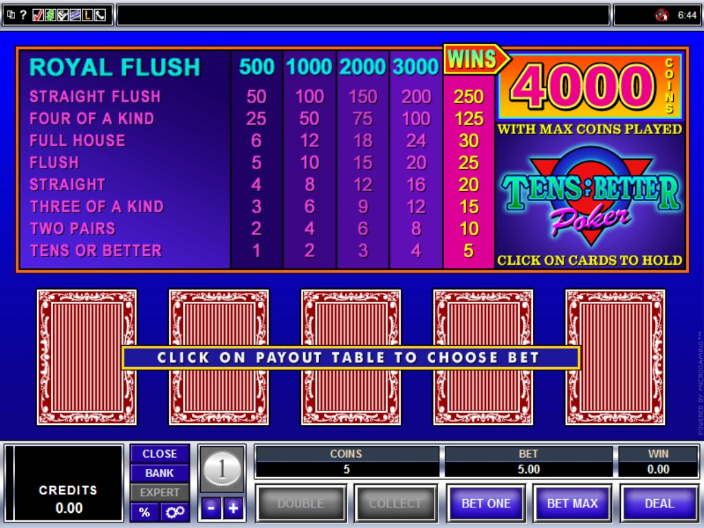 Tens or Better Video Poker - Rizk Online Casino