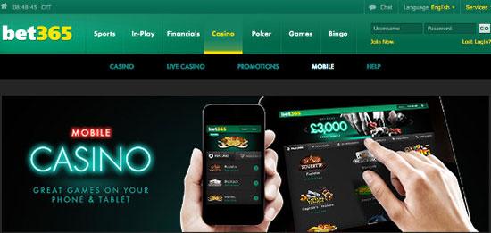 20% cashback Bet365 Mobile Casino
