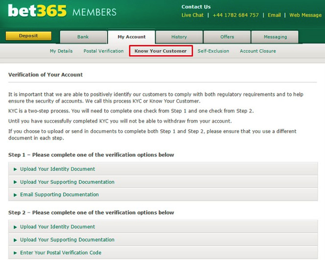 Bet365 ID Documents Verification