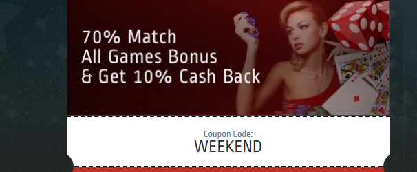 Get 70% Match and 10% Cashback Every Weekend at Club World Casino